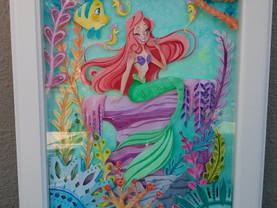The Little Mermaid Watercolor Papercraft Painting