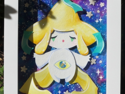 Jirachi Watercolor Papercraft Painting