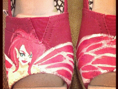 Red Fairy Over Pair of Wedges