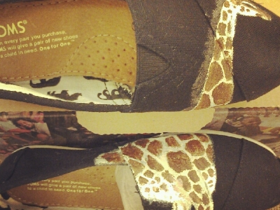 Giraffe Over Pair of Shoes